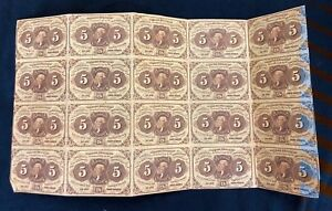 US 5 Cent 1st Issue Fractional Currency FR-1230 Uncut Sheet With Monogram