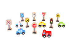 Brand New Tooky Toy Transportation & Sign Set Wooden Cars Vehicles trafftc signs