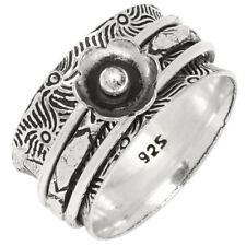 """925 Silver Jewelry Ring """"9.5"""" Medation Wide Band Spinner Handmade Ethnic"""