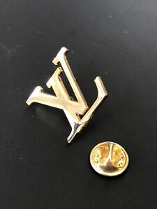 Vintage Louis Vuitton LV Brooch Lapel Pin, Gold Tone Plated Pre-Owned