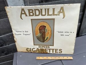 Abdulla Egyptian Lady Image Cigarette Celluloid & Tin Advertising Sign c1920s