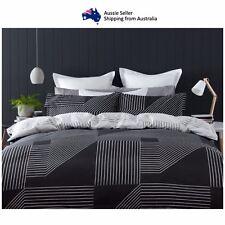 Double Bed Reversible Quilt Cover Set Doona Duvet Bedding Bedspread Black White