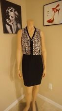 Gorgeous business style Forever 21 sz large V-neck with tie dress tan and black