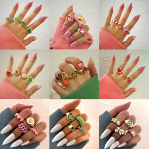20pcs Metal Resin Acrylic Knuckle Midi Rings Set Women Party Jewelry Wholesale