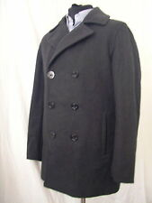 Pea coat Lands End USN caban M 50 gris laine manteau wool reefer Peacoat
