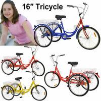 """Adult/Kids Tricycle 14/16/20"""" 1 Speed 3 Wheel Trike Bike w/ Basket & Tools Gift"""