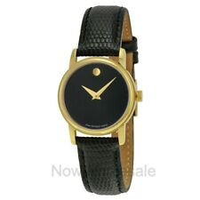 NEW - Movado Women's Gold Black Dial Leather Strap Gold Tone Watch 2100006