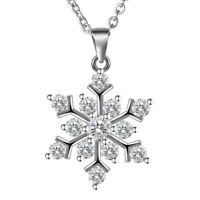 Women's 925 Sterling Silver White Crystal Snowflake Pendant Necklace Chain 18""