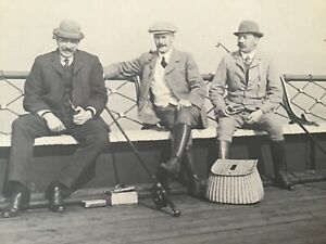 CC  Sports FISHING Fishermen w/ RODS Creels etc Dated 1909 Cabinet PHOTO 28/9