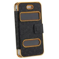 Case Cover with Magnetic Closure for iPhone 4 4S Black I6B2