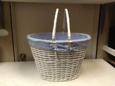 Large Oval White Wicker Laundry Storage Toy Bathroom Basket Blue Liner 20x16x13