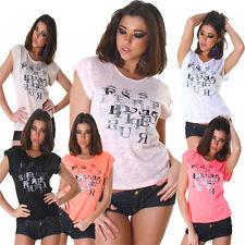 Damen T-Shirt Shirt Top Print Strass Einheits-Größe S 34 36 Party Disko Mode neu