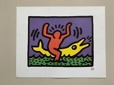 KEITH HARING, 'MAN AND DOLPHIN' RARE AUTHENTIC LICENSED 1992 ART PRINT