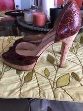 OSCAR DE LA RENTA Womens Brown Embossed Leather Peep Toe High Heel Pump 36 1/2