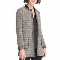 DKNY NEW Women's Black Multi Tweed Lined Long Open-front Jacket Top 4 TEDO