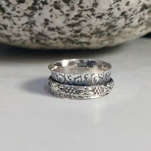 Spinner Ring 925 Sterling Silver Plated Ring Handmade Ring Size 7 at08