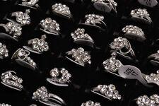 Wholesale Lots Mixed 50Pcs Mixed CZ Rhinestone Silver Plated Woman Rings FREE