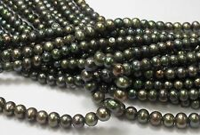 Large Hole Pearl Green Color Round/Potato Pearl 6-7mm Hole Size 1.8mm (#07)