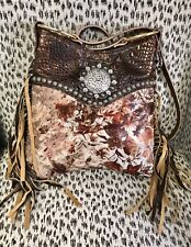 Raviani Western Fringe Bag W/Floral Acid Wash & Brown Crocodile Leather &Concho
