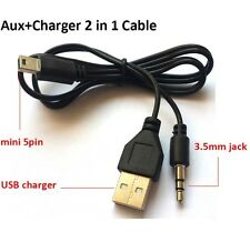 USB to Mini USB B 5 Pin to 3.5mm AUX MP3 MP Charging Cable Speaker Connection uk