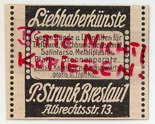 BRESLAU, Werbung 1913, P. Strunk Kunst-Utensilien Tief-Flach-Brand Kerbschnitt