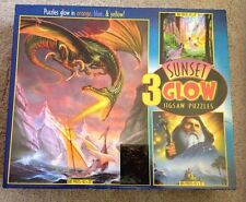"""Sunset 3 glow Box of Jigsaw Puzzles New in Box 500 pieces 16"""" X 20"""""""