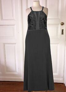 104. elegantes Maxi Abendkleid mit Spitze und Pailletten schwarz Gr 42