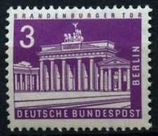 Berlin 1956-63 SG#B133b 3pf Reddish Violet Buildings Definitive MNH #D72639