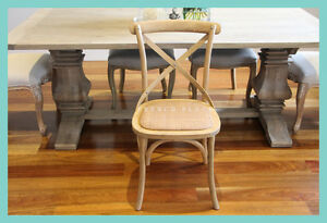 *IN STOCK* NEW French Provincial / Hamptons Style Oak and Rattan Dining chair