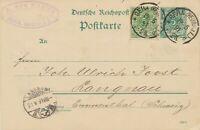 DEUTSCHES REICH 1891 5 Pf Krone grün als Zusatzfrank. a. dto. GA n. LANGNAU, CH