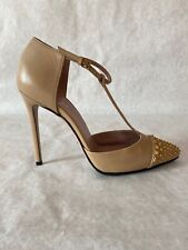 Gucci Nude Leather T-strap Pump Brass Studs 38 8 New