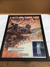Vintage Feather Your Nest Music Sheet Book In Glass Frame Wall Hanging