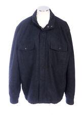 BANANA REPUBLIC Black Charcoal Wool Heavy Felt Zip Up Field Jacket Mens Size XXL