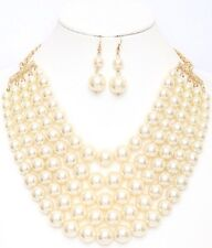 Adjustable 5 Layer Cream Pearl Necklace with Earrings
