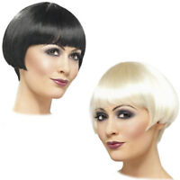 LADIES FANCY DRESS SHORT BOB FRINGE 10s WIG BLACK OR BLONDE – 1910s FLAPPER