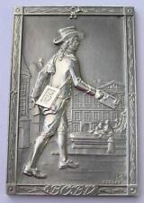 Ancient mailman,postman on bronze plaque 1962 by Bodlak