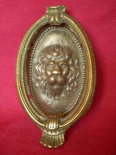 VINTAGE 1930's BRASS LION HEAD DESIGN DOOR KNOCKER