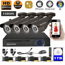 Eyedea 8CH 1080N DVR Recorder 3500TVL 36 LED CCTV Security Camera System 1TB Kit