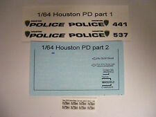 Houston TX Police 1:64 Water Slide Decals Fits many 1/64 Die Cast Vehicles