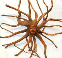 Nature Spirit Sun Goddess Tree Root Carving Carved wood Sculpture Bali Wall Art