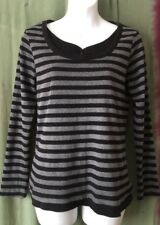 Women's Top, 12, Love Cotton, Black, Charcoal, Striped.