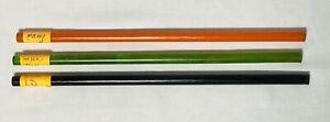 THREE Vintage Bakelite Rods Bakelite~ORANGE~GREEN~NAVY~Jewelry Charms~UNCUT