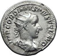 GORDIAN III 239AD Ancient Authentic Genuine Silver Roman Coin Aequitas   i70063