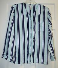 2 Piece Women's Pajama Set in Blue and White Stripes, size Large, from Delicates