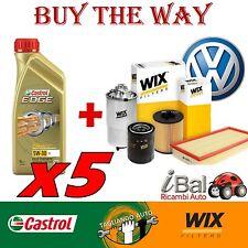VW GOLF V 2.0TDI (1K1) 03-09 103KW KIT FILTRI WIX + OLIO 5W-30 CASTROL EDGE 5LT
