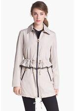 BETSEY JOHNSON $200 Ruffle Peplum Hooded Trench Rain Coat Jacket Cloud Beige L