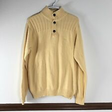 Izod Sweater Mens Size M Yellow Henley
