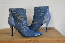 BLUE FABRIC LACE MID HEEL ANKLE BOOTS SIZE 7 / 40 (9B) TIMOTHY HITSMAN USED CON