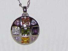 Multicolored CZ Jewel Pendant Silver Necklace