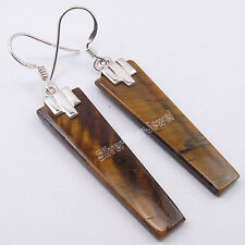 .925 Solid Silver BROWN TIGER'S EYE Long Flat Gem MADE IN INDIA Earrings 2.1""